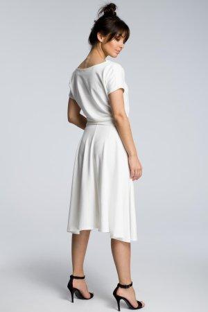 c6cf0ed382 Rozkloszowana Sukienka z Paskiem Ecru BW067 Rozkloszowana Sukienka z  Paskiem Ecru BW067