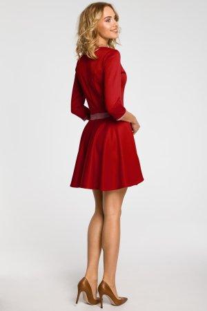 2454234f29 ... Połyskująca Sukienka z Koła z Rękawem Czerwona MO052
