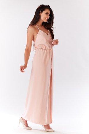 4f221ed074 ... Długa Sukienka z Rozcięciem Pudrowy Róż IN138