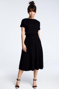 72ca93fea1 Rozkloszowana Sukienka z Paskiem Czarna BW067