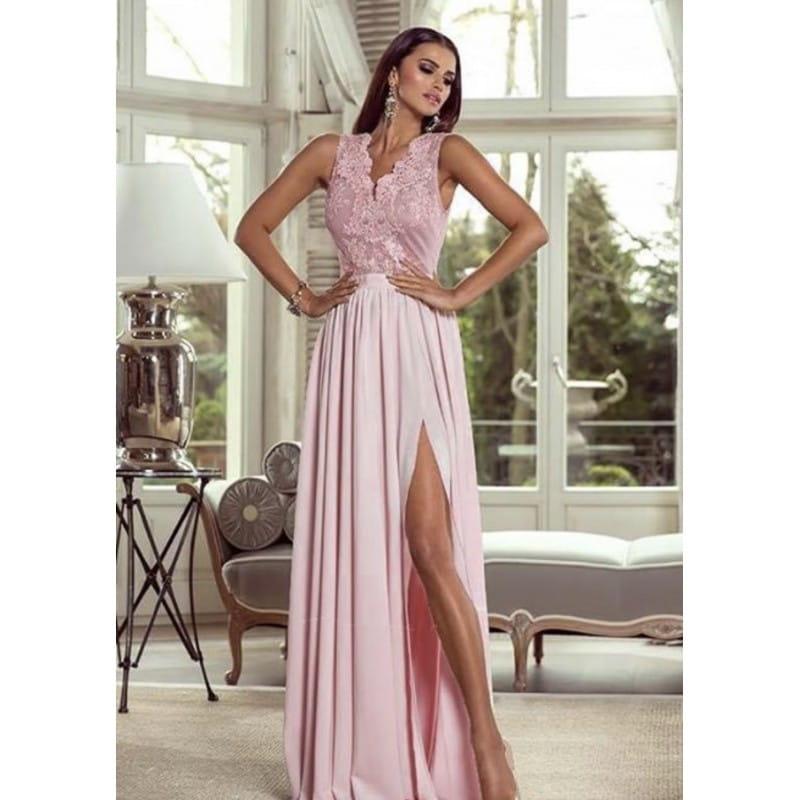 27710f69b3 Ekstremalne Sukienka Długa z Koronką Virginia Róż Pudrowy BESIMA.pl  HF-76