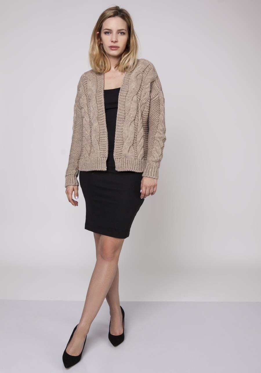 7e1b1c7559 Krótki Sweter bez Zapięcia Mocca MK150 BESIMA.pl