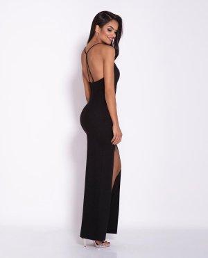 597e11d5ab ... Długa Sukienka z Rozporkiem i Skrzyżowanymi Ramiączkami Czarna Divan