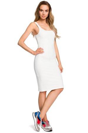 06dea388c8 Kobieca Bawełniana Sukienka Midi Ecru MO414 Kobieca Bawełniana Sukienka  Midi Ecru MO414