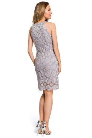 d10fbd7a4a Dopasowana Sukienka z Dekoltem Halter Szary MO431 Dopasowana Sukienka z  Dekoltem Halter Szary MO431