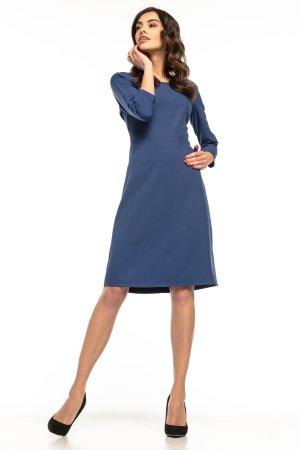 96c32657e9 Taliowana Sukienka z Trapezowym Dołem Granatowa TE265 Taliowana Sukienka z  Trapezowym Dołem Granatowa TE265