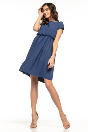 753b475e74 Letnia Sukienka z Marszczeniem Falbanką Granatowa TE266 Letnia Sukienka z  Marszczeniem Falbanką Granatowa TE266