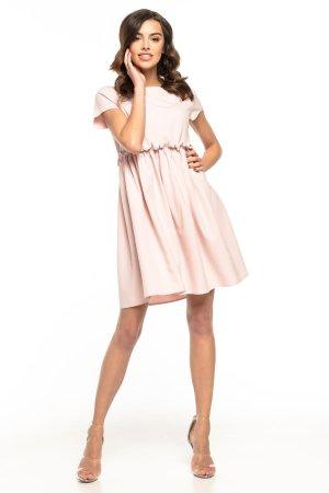 b5d768383c ... Letnia Sukienka z Marszczeniem Falbanką Jasny Róż TE266
