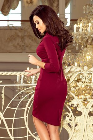 1a974dfd33 ... Elegancka Sukienka z Kopertowym Dekoltem Bordowa NU237-2