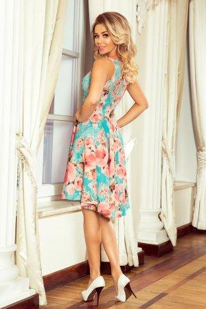 6ca6db2ee1 ... Rozkloszowana Sukienka z Krótszym Przodem Błękitna w Kwiaty NU251-1
