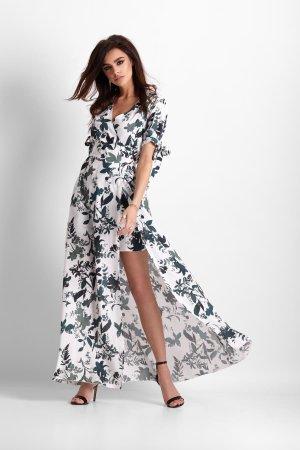 29c982de90 ... Zwiewna Sukienka z Dużym Rozcięciem Biało-Zielona 258