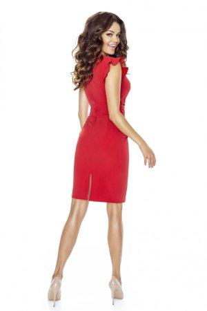 6481b6a5b2 ... Wizytowa Sukienka z Falbaną Czerwona KM66K-1