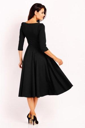 253a78a168 ... Elegancka Sukienka Midi z Dłuższym Rękawem Czarna NA454