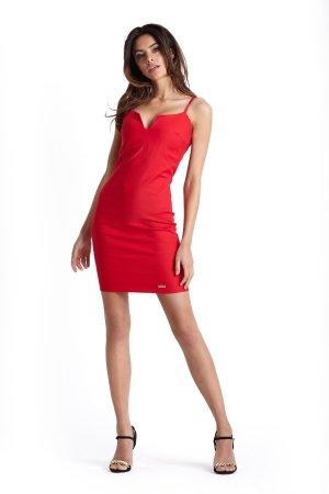 bc048d3528 ... Dopasowana Sukienka z Wycięciem Przy Dekolcie Czerwona 229