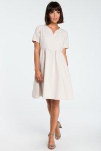716ed3ec03 Rozkloszowana Letnia Sukienka Beżowa BW081 ...