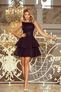 48ecd5e29f Rozkloszowana Sukienka z Podwójną Falbaną i Koronką Czarna NU206-2 ...