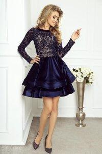 fcf1639532 Welurowa Sukienka z Podwójną Falbaną Granatowa Stella ...
