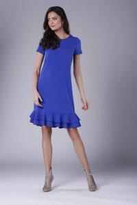 2b97ffc1f1 Prosta Sukienka z Małą Falbanką Kobaltowa NA889