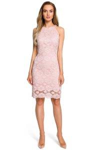 16a6452122 Dopasowana Sukienka z Dekoltem Halter Różowa MO431