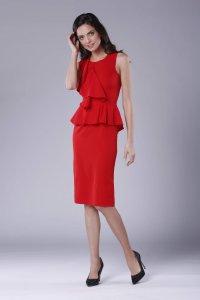 a2c665d918ea22 Ołówkowa Sukienka z Falbaną i Baskinką Czerwona NA896 ...