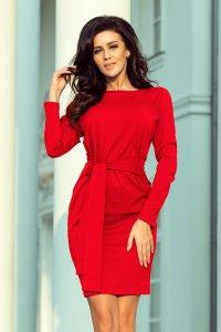 45c31b097f Wygodna Sukienka z Wiązanym Paskiem Czerwona NU209-6