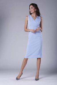 0460809089 Klasyczna Sukienka z Kopertowym Dekoltem Błękitna NA930 ...