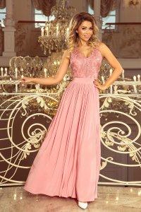 4c05a54aa8 Długa Sukienka z Koronkową Górą Różowa NU215-3 ...