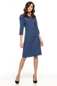 f4114536dd Taliowana Sukienka z Trapezowym Dołem Granatowa TE265 ...