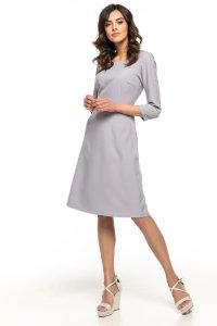 4cb1e97be0 Taliowana Sukienka z Trapezowym Dołem Szara TE265 ...