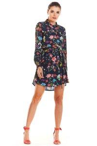 77f5581c5b Zwiewna Sukienka w Kwiaty Granatowa IN202 ...