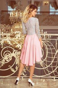df2b3466e44208 Asymetryczna Sukienka z Koronką Róż + Szary NU210-5 ...