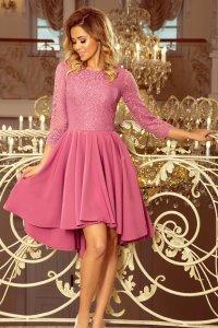 d50fb8c8aa Asymetryczna Rozkloszowana Sukienka z Koronką Lila NU231-2 ...