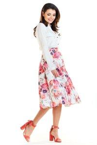 2d5aaf5601 Rozkloszowana Spódnica Midi w Kwiaty Fuksja AW256 ...