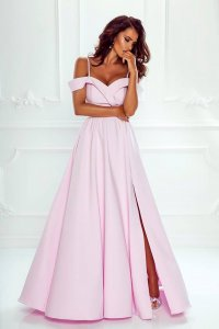 96f4deae276086 Elegancka Długa Suknia Caroline Pudrowy Róż