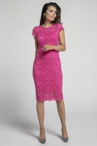 04c9db48be Dopasowana Sukienka Midi z Koronki Ciemny Róż NA574