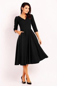 2f514a0b09 Elegancka Sukienka Midi z Dłuższym Rękawem Czarna NA454 ...