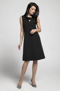 d184504db9 Prosta Sukienka z Wyciętym Elementem Czarna NA553