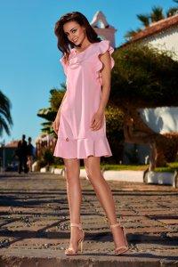 aa78106ef8 Trapezowa Sukienka z Falbankami Różowa LEL248 ...