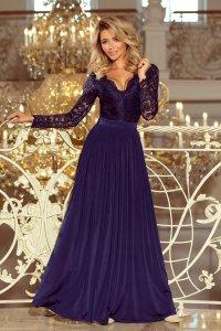 8fdda93c63 Długa Sukienka z Koronkowymi Rękawami Granatowa NU214-1 ...