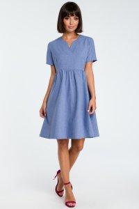 d650c72461 Rozkloszowana Letnia Sukienka Niebieska BW081