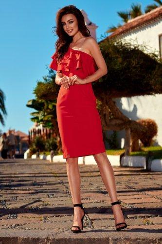 54f8c37ed7 Urocza Sukienka na Jedno Ramie Czerwona LEL254 BESIMA.pl