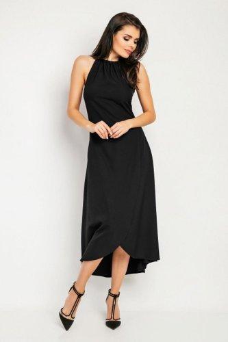 daeace3d48 Sukienka z Wiązaniem na Szyi Czarna NA459 BESIMA.pl