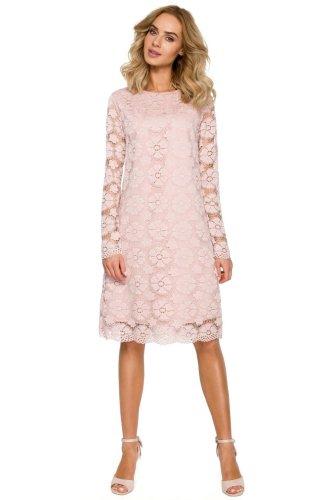 f33100473f Koronkowa Sukienka Trapezowa Różowa MO406
