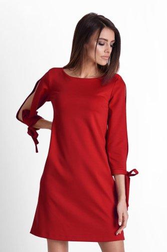 c550258c88 Trapezowa Sukienka z Rozciętymi Rękawami Czerwona 246 BESIMA.pl