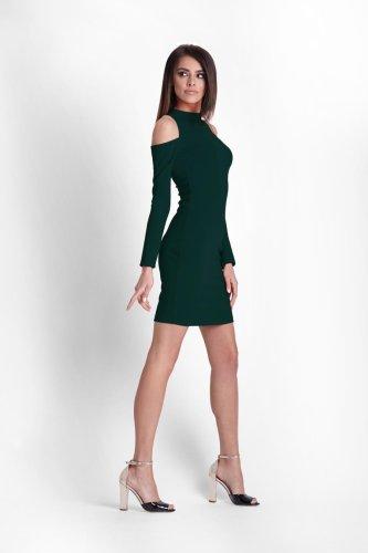 5ae7a770b4 Dopasowana Sukienka z Odkrytymi Ramionami Zielona 243 BESIMA.pl