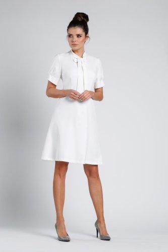 497e4f453d Trapezowa Sukienka Ecru NA355 BESIMA.pl