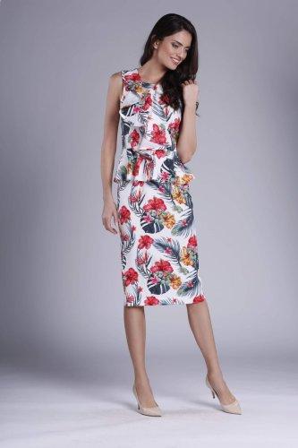 6e7c4feb148783 Ołówkowa Sukienka z Falbaną i Baskinką Tropikalna NA896 BESIMA.pl