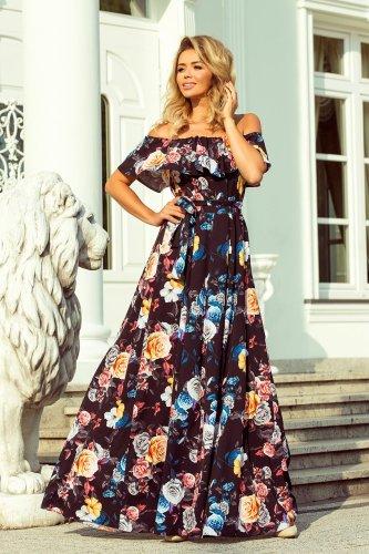 99ec5587bc Sukienka Maxi w Stylu Hiszpańskim Czarna w Kolorowe Kwiaty NU194-3