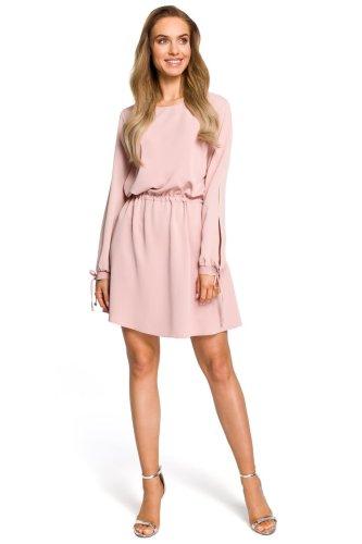 7649ad1f7a Sukienka w Stylu Boho z Połyskującego Materiału Różowa MO426 BESIMA.pl