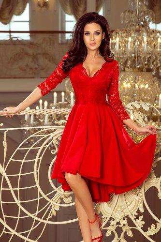 c792aa466d8cc2 Asymetryczna Sukienka z Koronką Czerwona NU210-6 BESIMA.pl